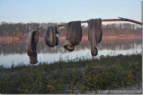 Séchage de chaussettes en randonnée