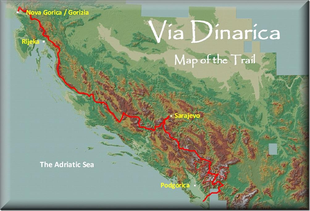 Via Dinarica - Carte du sentiers à travers les Balkans