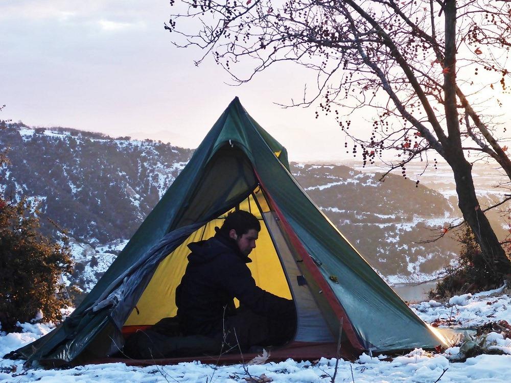 Les campements hivernaux lors de mon tour d'Europe à pied
