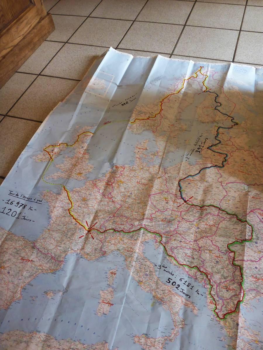 Tour d'Europe à pied : le tracé