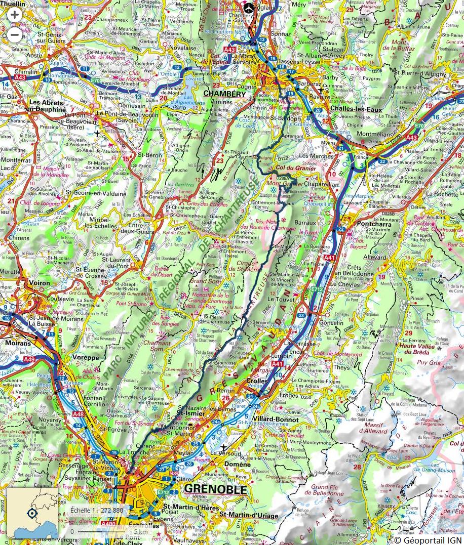 Itinéraire théorique de la traversée de la Chartreuse en 3 jours