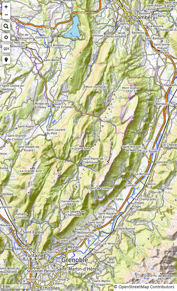 Carte : massif de la Chartreuse